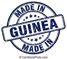 made in Guinea blue grunge round stamp