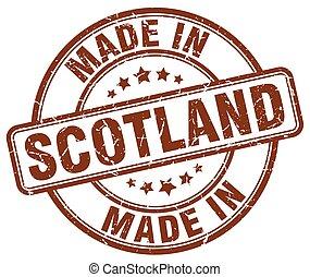 made in Scotland brown grunge round stamp
