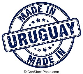 made in Uruguay blue grunge round stamp