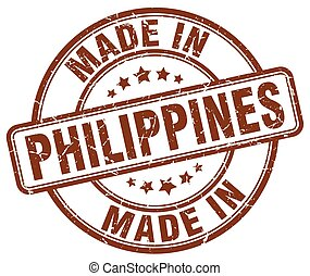 made in Philippines brown grunge round stamp