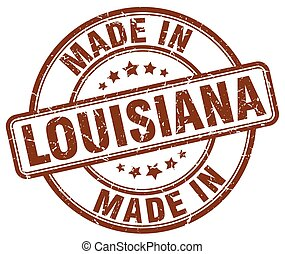 made in Louisiana brown grunge round stamp