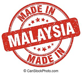 made in Malaysia red grunge round stamp