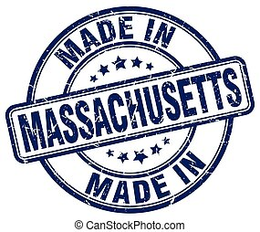 made in Massachusetts blue grunge round stamp