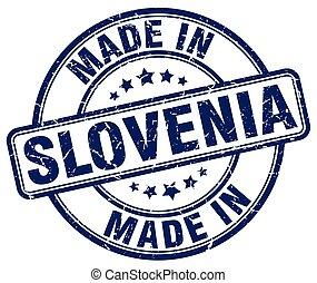 made in Slovenia blue grunge round stamp