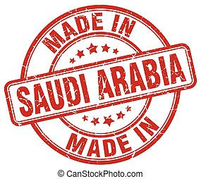 made in Saudi Arabia red grunge round stamp