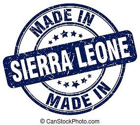 made in Sierra Leone blue grunge round stamp