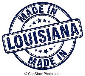 made in Louisiana blue grunge round stamp