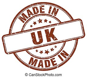 made in uk brown grunge round stamp