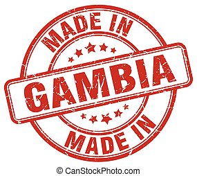 made in Gambia red grunge round stamp