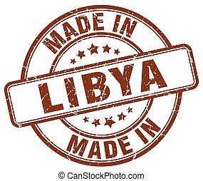 made in Libya brown grunge round stamp
