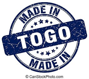 made in Togo blue grunge round stamp