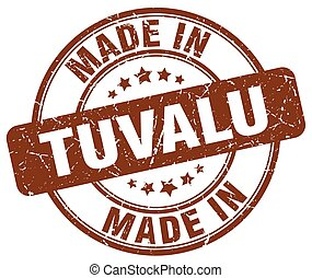 made in Tuvalu brown grunge round stamp