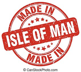 made in Isle Of Man red grunge round stamp