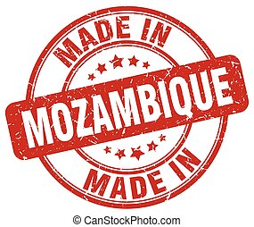 made in Mozambique red grunge round stamp