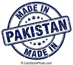 made in Pakistan blue grunge round stamp