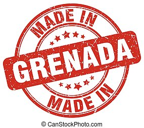 made in Grenada red grunge round stamp