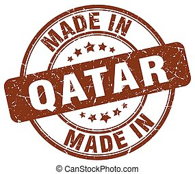made in Qatar brown grunge round stamp