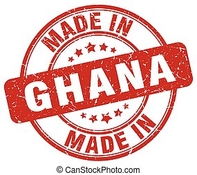 made in Ghana red grunge round stamp