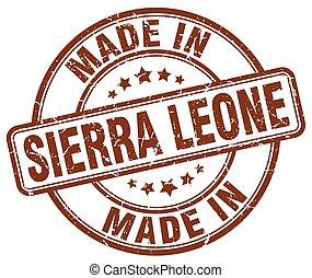 made in Sierra Leone brown grunge round stamp