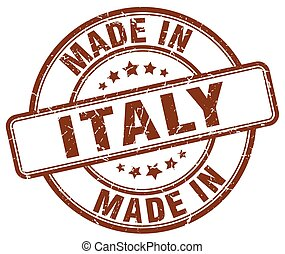 made in Italy brown grunge round stamp
