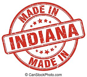 made in Indiana red grunge round stamp