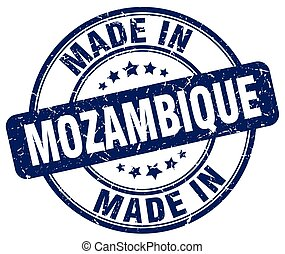 made in Mozambique blue grunge round stamp