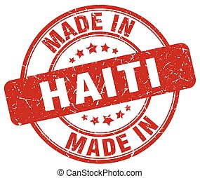 made in Haiti red grunge round stamp