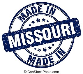 made in Missouri blue grunge round stamp