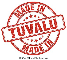 made in Tuvalu red grunge round stamp