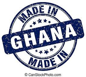 made in Ghana blue grunge round stamp