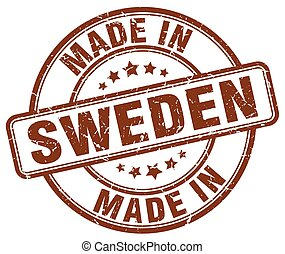made in Sweden brown grunge round stamp