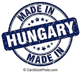 made in Hungary blue grunge round stamp