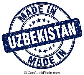 made in Uzbekistan blue grunge round stamp