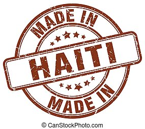 made in Haiti brown grunge round stamp
