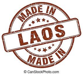 made in Laos brown grunge round stamp