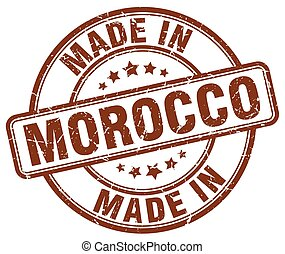 made in Morocco brown grunge round stamp