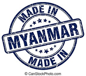 made in Myanmar blue grunge round stamp