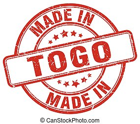 made in Togo red grunge round stamp