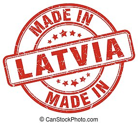 made in Latvia red grunge round stamp
