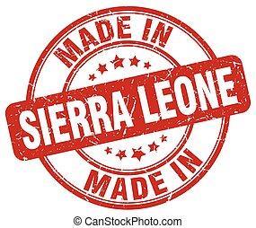 made in Sierra Leone red grunge round stamp