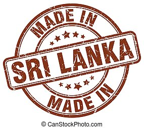 made in Sri Lanka brown grunge round stamp