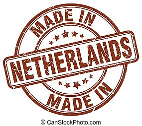 made in Netherlands brown grunge round stamp