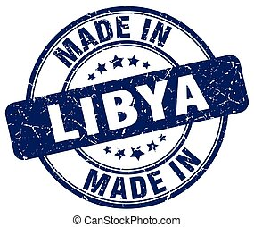 made in Libya blue grunge round stamp