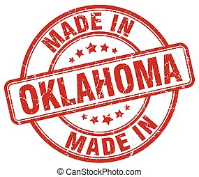 made in Oklahoma red grunge round stamp