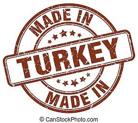 made in Turkey brown grunge round stamp