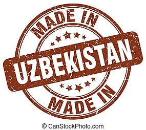made in Uzbekistan brown grunge round stamp