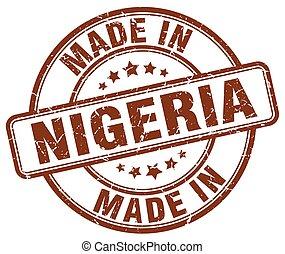 made in Nigeria brown grunge round stamp