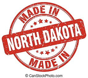 made in North Dakota red grunge round stamp