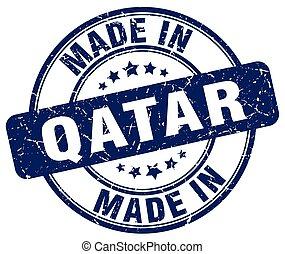 made in Qatar blue grunge round stamp
