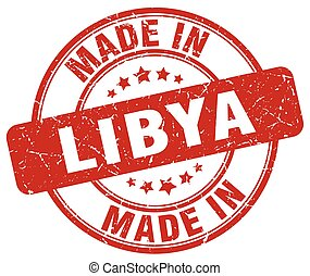 made in Libya red grunge round stamp